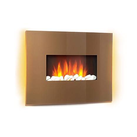 Klarstein Curved Copper L&F • Chimenea eléctrica con función calefactora • Chimenea electrónica • 1000 o