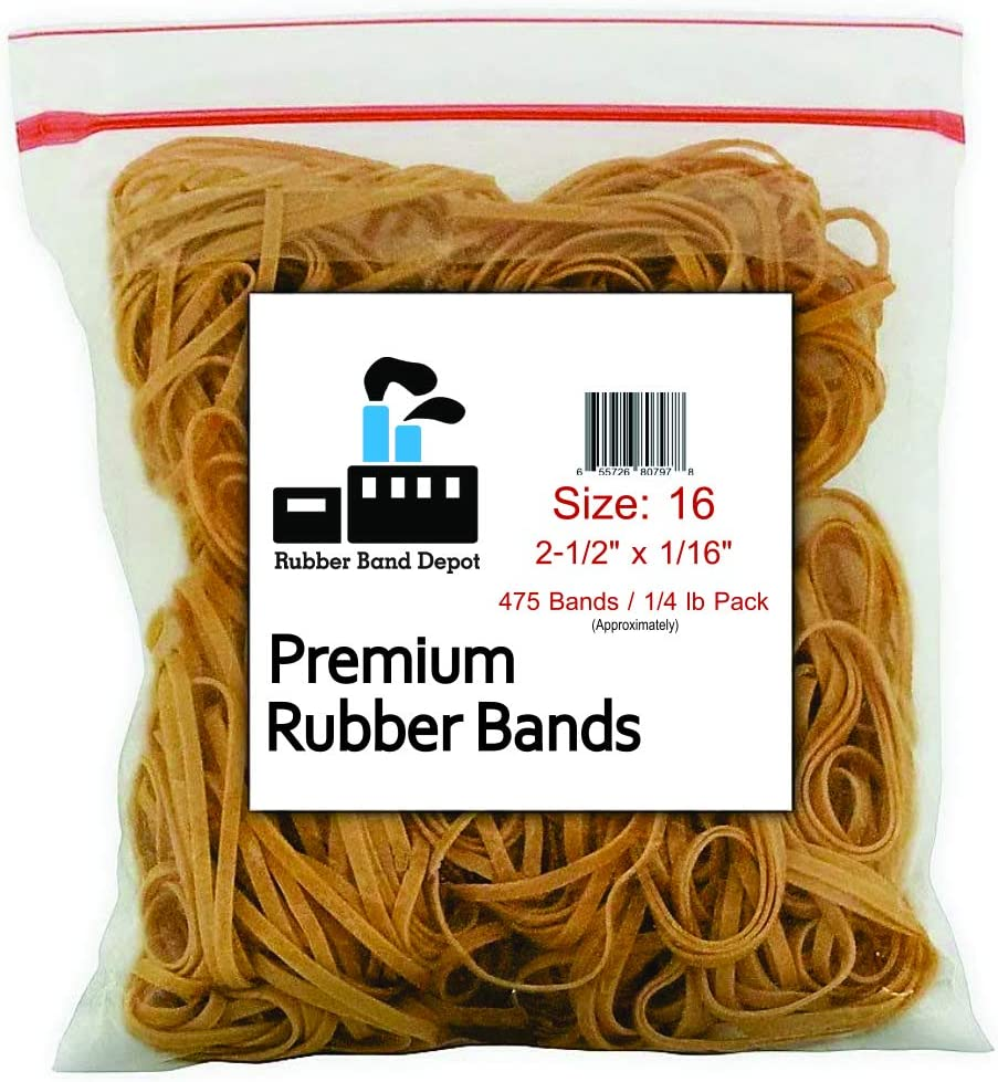 """Rubber Bands, Rubber Band Depot, Size #16 (2-1/2"""" x 1/16'') (1/4 Pound Bag)"""
