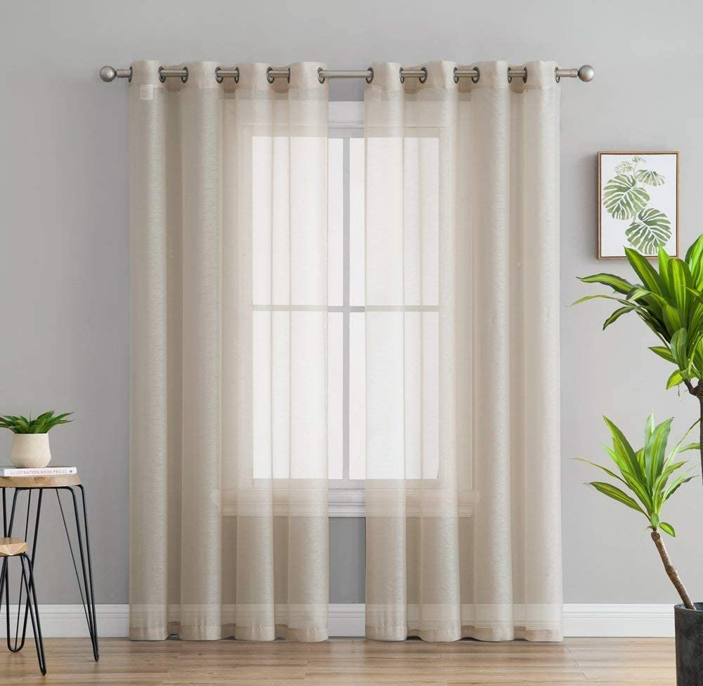 """HLC.ME 2 Piece Semi Sheer Voile Window Treatment Curtain Grommet Panels for Bedroom & Living Room (54"""" W x 84"""" L, Beige)"""