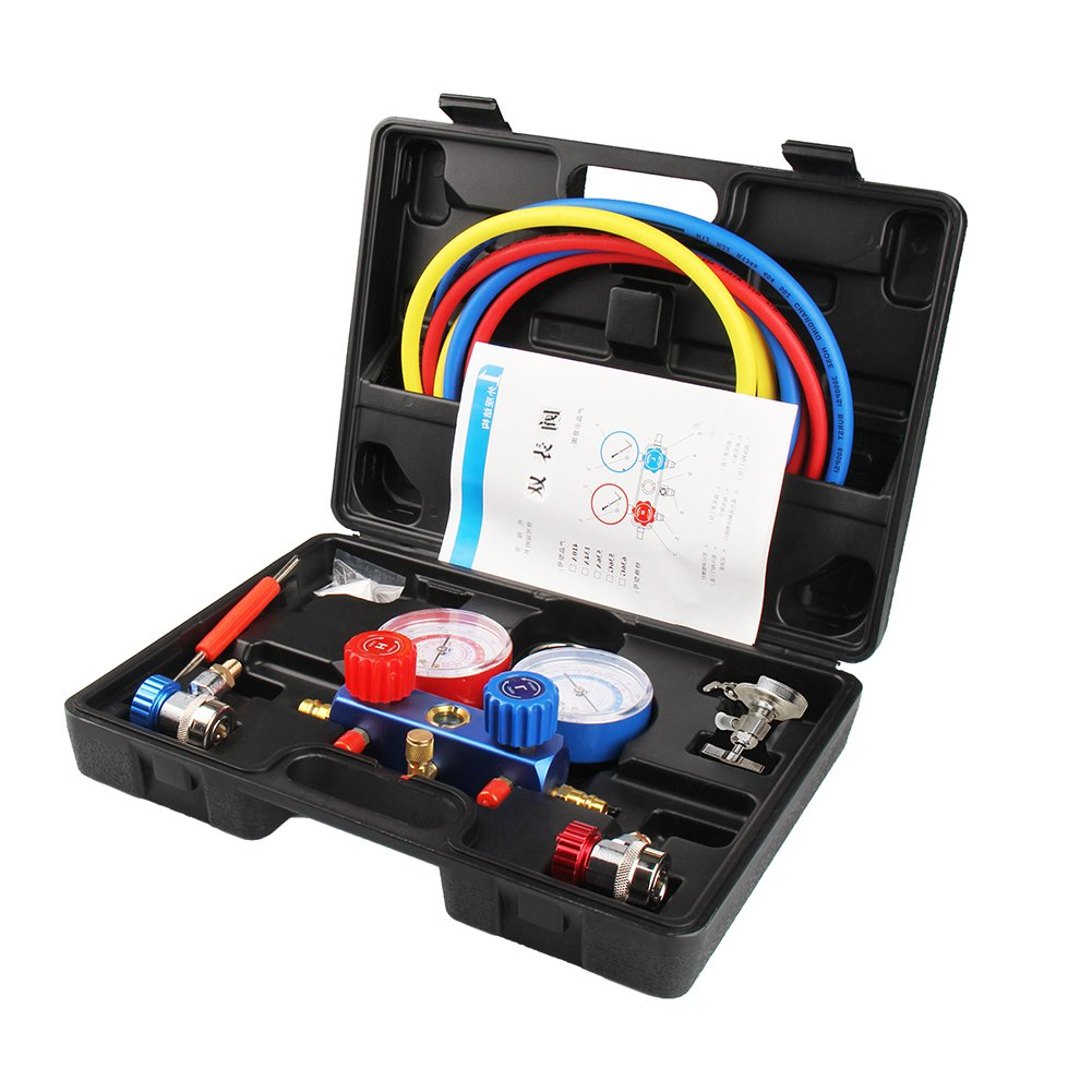 Manifold Gauge Set Diagnostic A/C Tool Kit R22 R134a R410a Refrigeration Brass Auto Service Set 5 Feet with Case, 1/4 Inch Fittings (Black -M8002)
