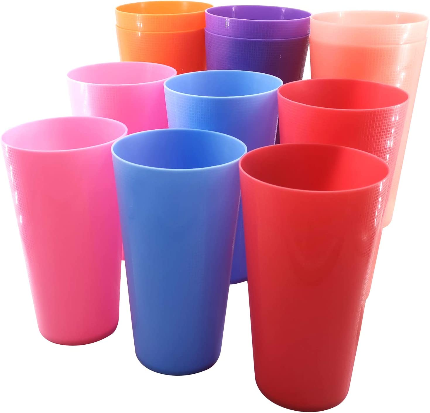 32-Ounce Plastic Tumblers Large Drinking Glasses Set of 12, 6 Assorted Colors|Unbreakable, BPA Free