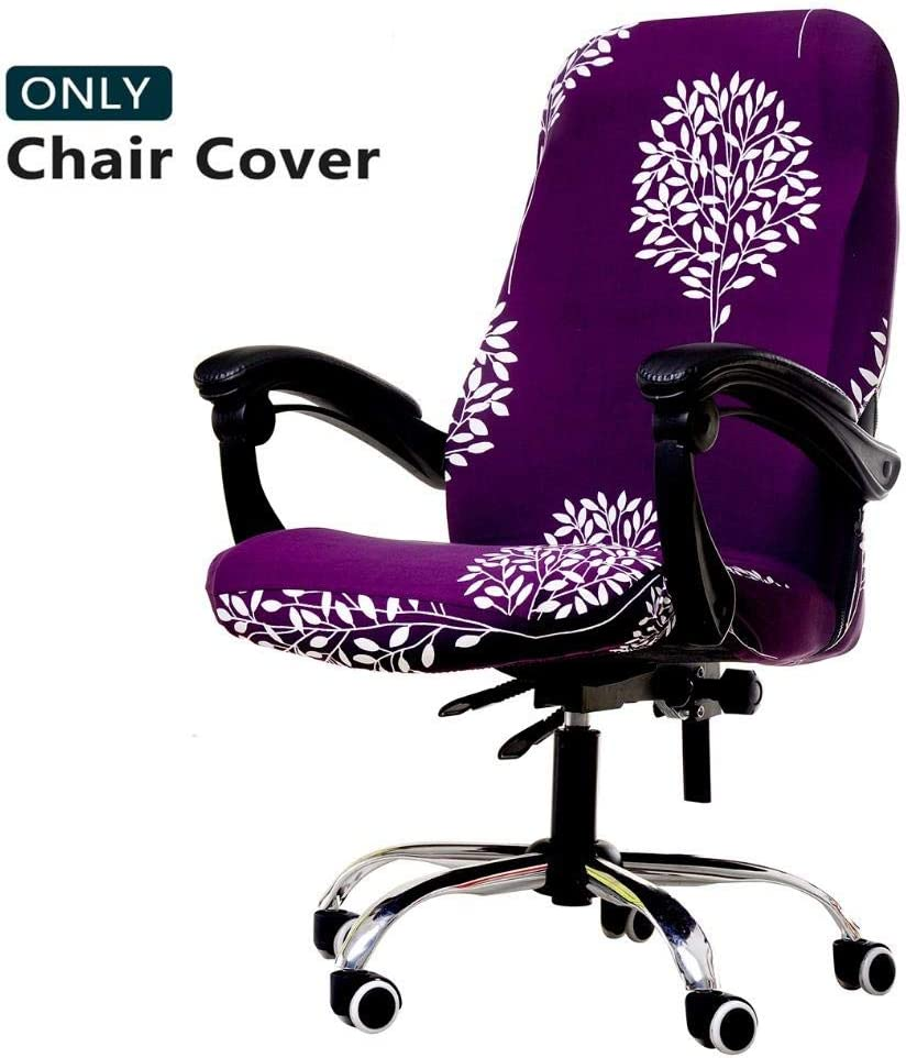 WOMACO Printed Office Chair Covers, Stretch Computer Chair Cover Universal Boss Chair Covers Modern Simplism Style High Back Chair Slipcover - Simple Love, Large