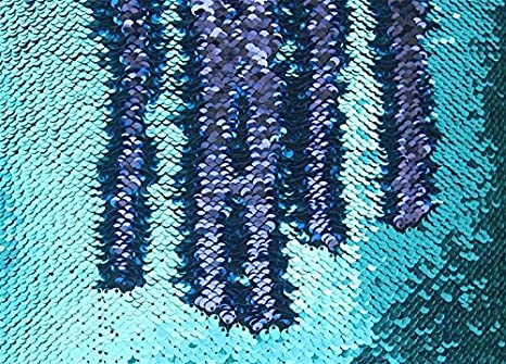 TRLYC Royal Blue and Silver One Yard Mermaid Sequin Dress Fabric Sparkly Table Fabric
