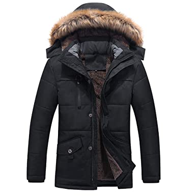 792cc3c39 Amazon.com  Clearance Forthery Men s Winter Thicken Faux Fur Coat ...