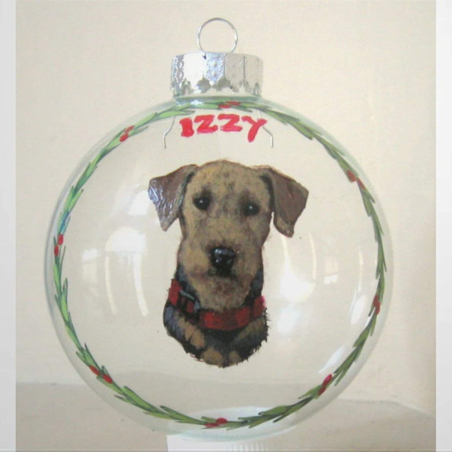 DONL9BAUER Christmas Balls Ornaments Airedale, Pet Hanging Ball for Xmas Tree Dog Loss Memorial, Custom Pet Portrait, Shatterproof Christmas Decorations for Holiday Party