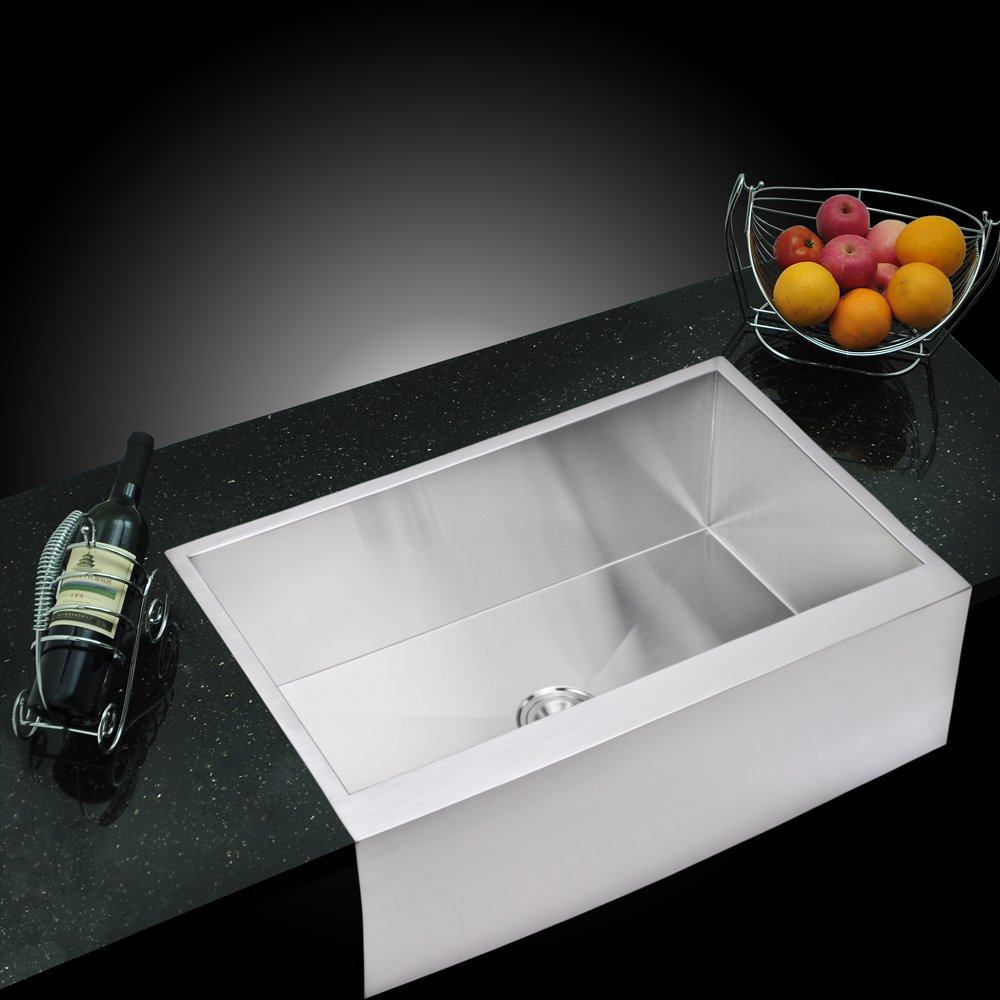 water creation ssu3321a 33inch by 21inch zero radius single bowl stainless steel hand made apron front kitchen sink amazoncom