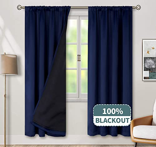 BGment Thermal Insulated 100 Blackout Curtains for Bedroom with Black Liner, Double Layer Full Room Darkening Noise Reducing Rod Pocket Curtain 52 x 84 Inch, Navy Blue, 2 Panels