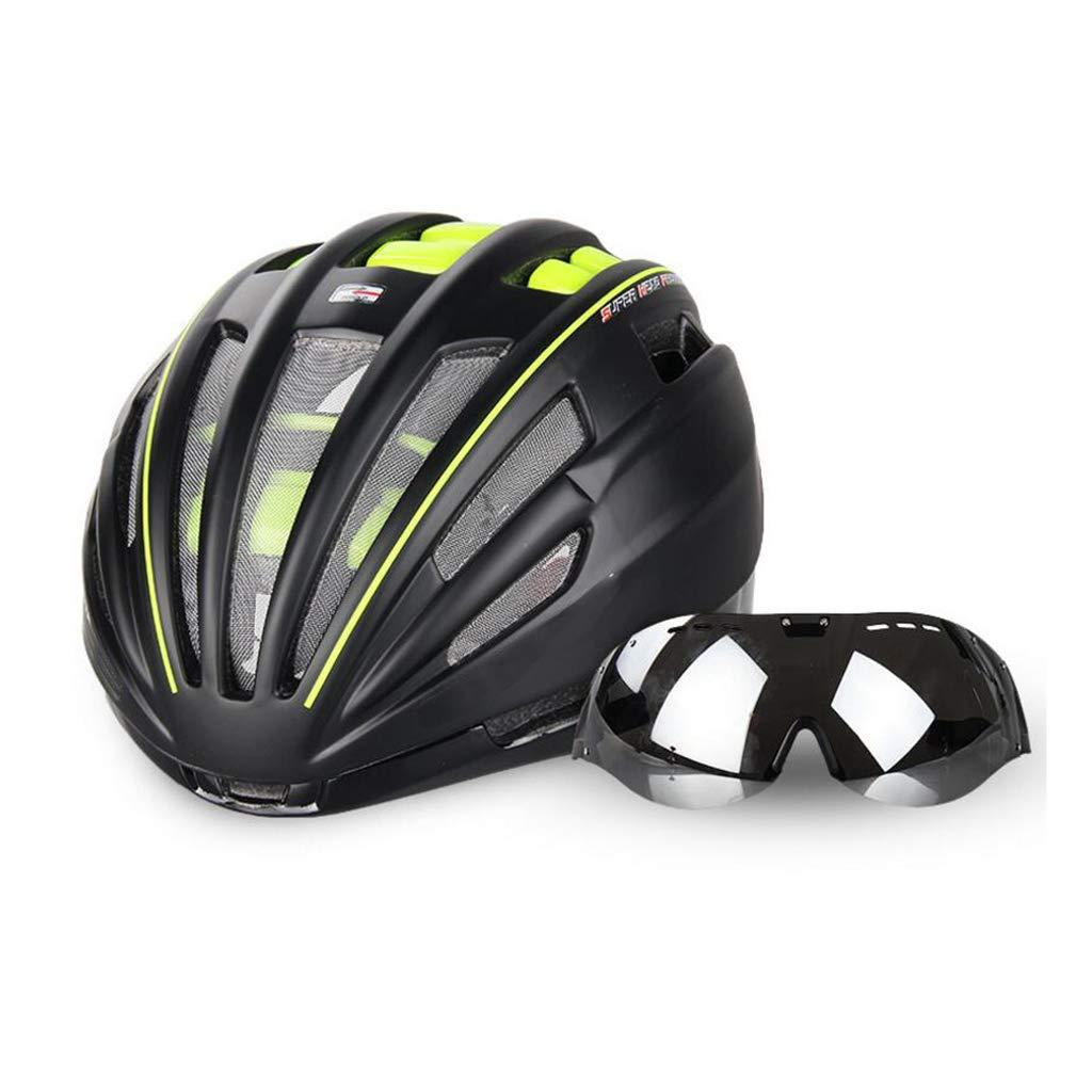 自転車ヘルメット、自転車ヘルメットロードマウンテンバイク安全キャップ調節可能な軽量大人用スポーツヘルメットゴーグル  Green B07PSNTTBP