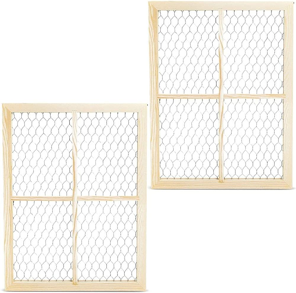 Bright Creations Unfinished Wood Window Frame with Chicken Wire Mesh (12 x 16 in, 2 Pack)