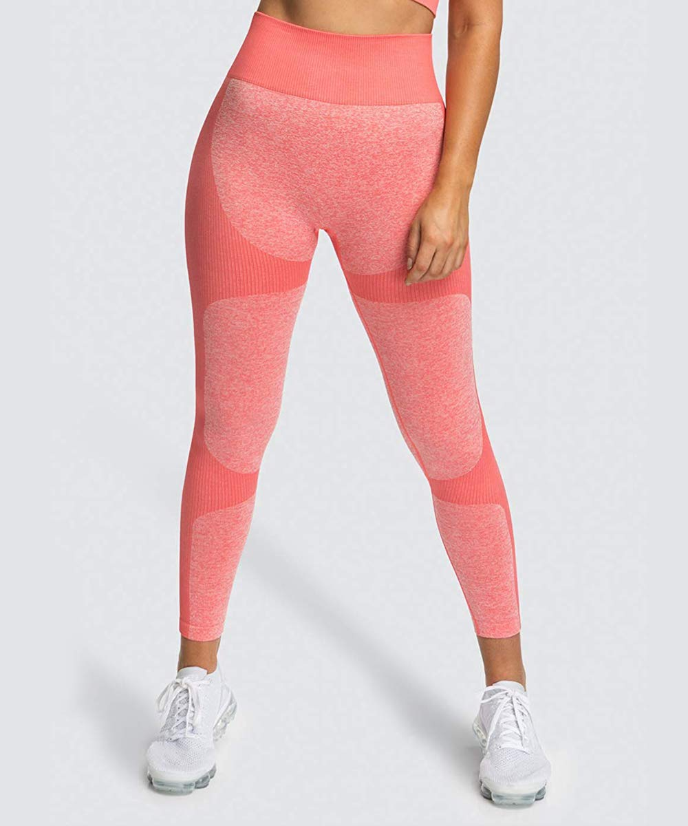 Zarjar High Waisted Sports Leggings for Women, Seamless Tight Yoga Workout Pants Pink M