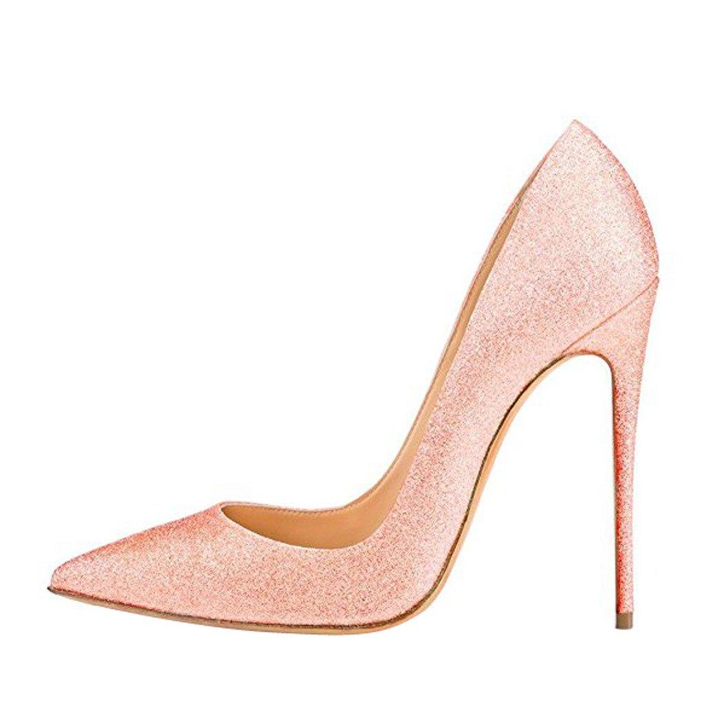 Jushee Damen Sexy Klassische Schwarz Stiletto High Heels Kleid Buuml;ro Pumps38 EU|Pink