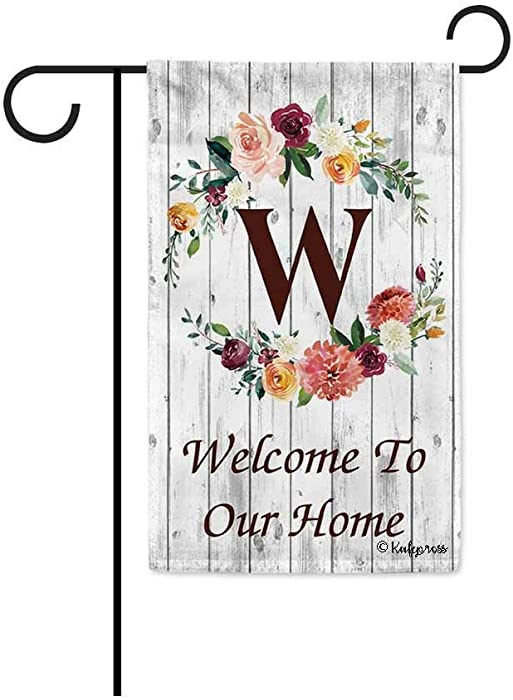 KafePross Hello Spring Flowers Summer Initial Letter Monogram W Garden Flag Welcome to Our Home Warminghouse Decor Banner for Outside 12.5X18 Inch Double Sided