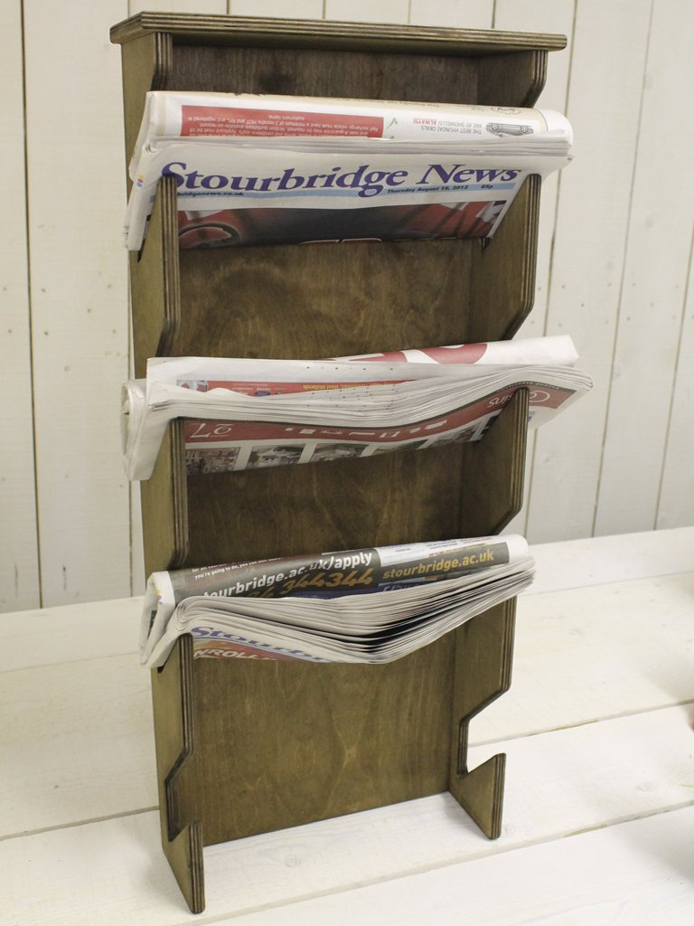 wooden newspaper rack amazoncouk kitchen  home -