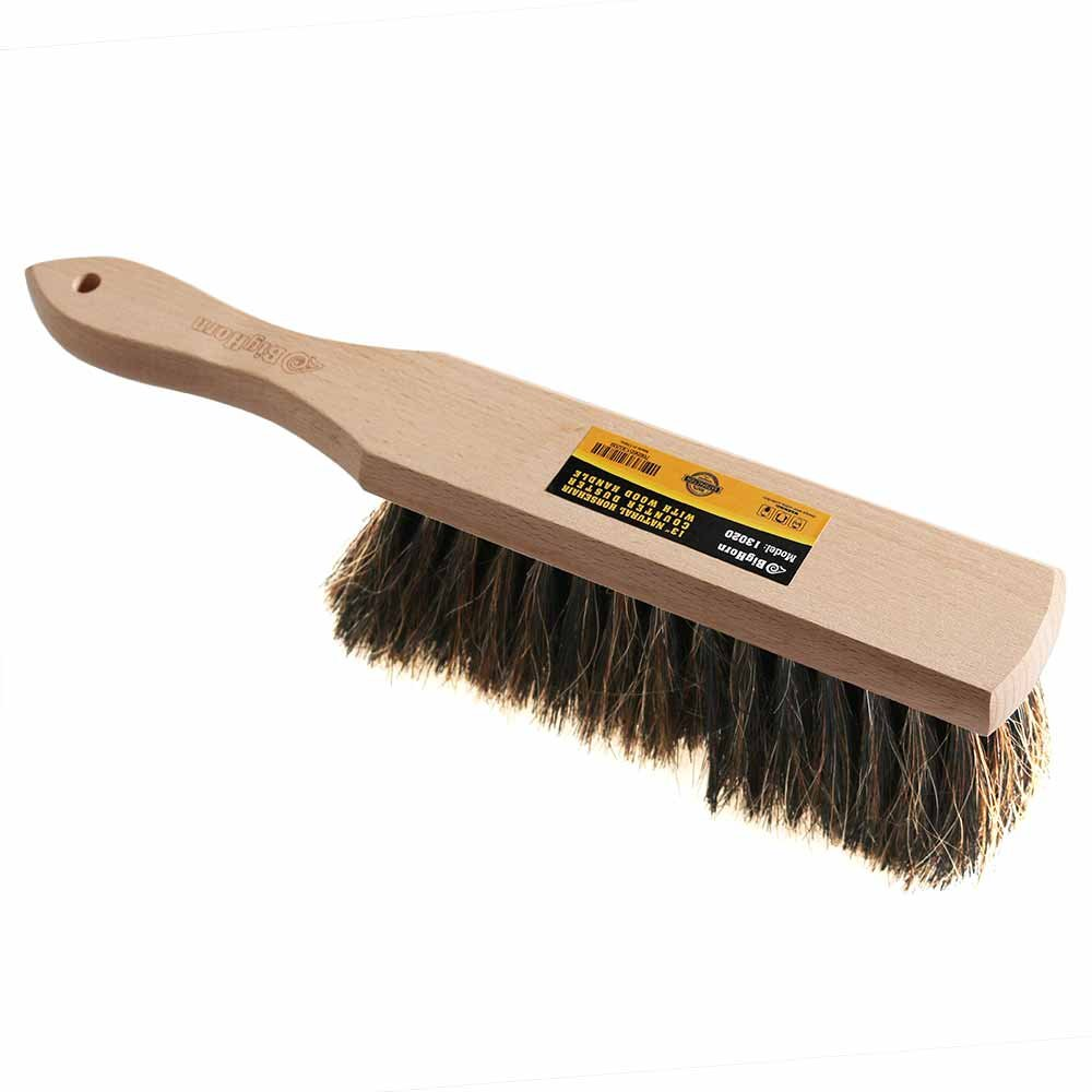 Big Horn 13020 Natural Horsehair Handheld Counter Duster with Wood Handle - 2'' Head Width, 13'' Overall Length