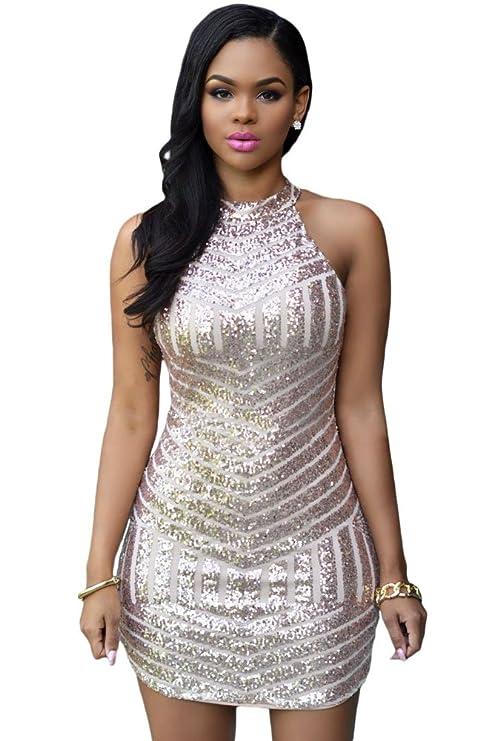 O&W Sleeveless Sexy Sparkling Sequin Tank Dress at Amazon Women\'s ...