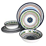 Hware 12 Pcs Rustic Melamine Tableware Set, Service for 4,Garden Pattern