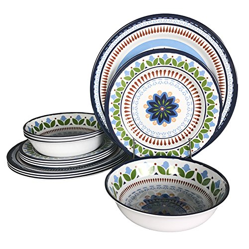 12 Pcs Melamine Dinnerware Set - Rustic Plates and bowls Set for Camping, Service for 4, Dishwasher Safe by Hware (Image #9)
