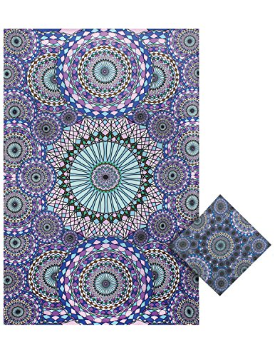 Sunshine Joy 3D Ring Of Water Geometric Circles Tapestry Tablecloth Beach Sheet Wall Art Huge 60x90 Inches with FREE BANDANA (Table 22 Stake)