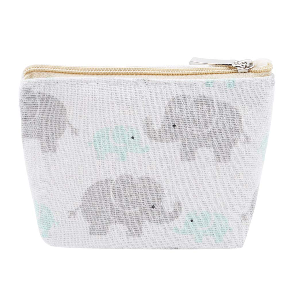 Dolland Canvas Women Coin Purse Simple Fashion Pouch Wallet with Key Ring,Elephant