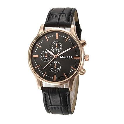 Xinantime Relojes Hombre,Xinan Lujo Cuero de Imitación Relojes Analógicos (Negro)