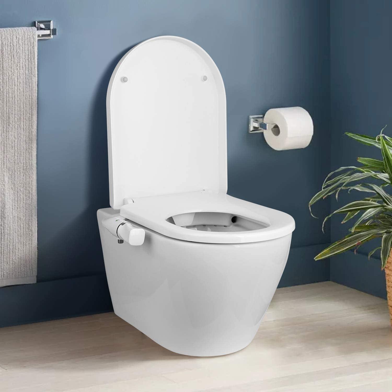 Amzdeal Bid/és Toilet Seat Bidet con boquilla doble y Maquinaria no El/éctrica//BC-05 Blanco Bid/é de asiento de inodoro de Agua Fr/ía