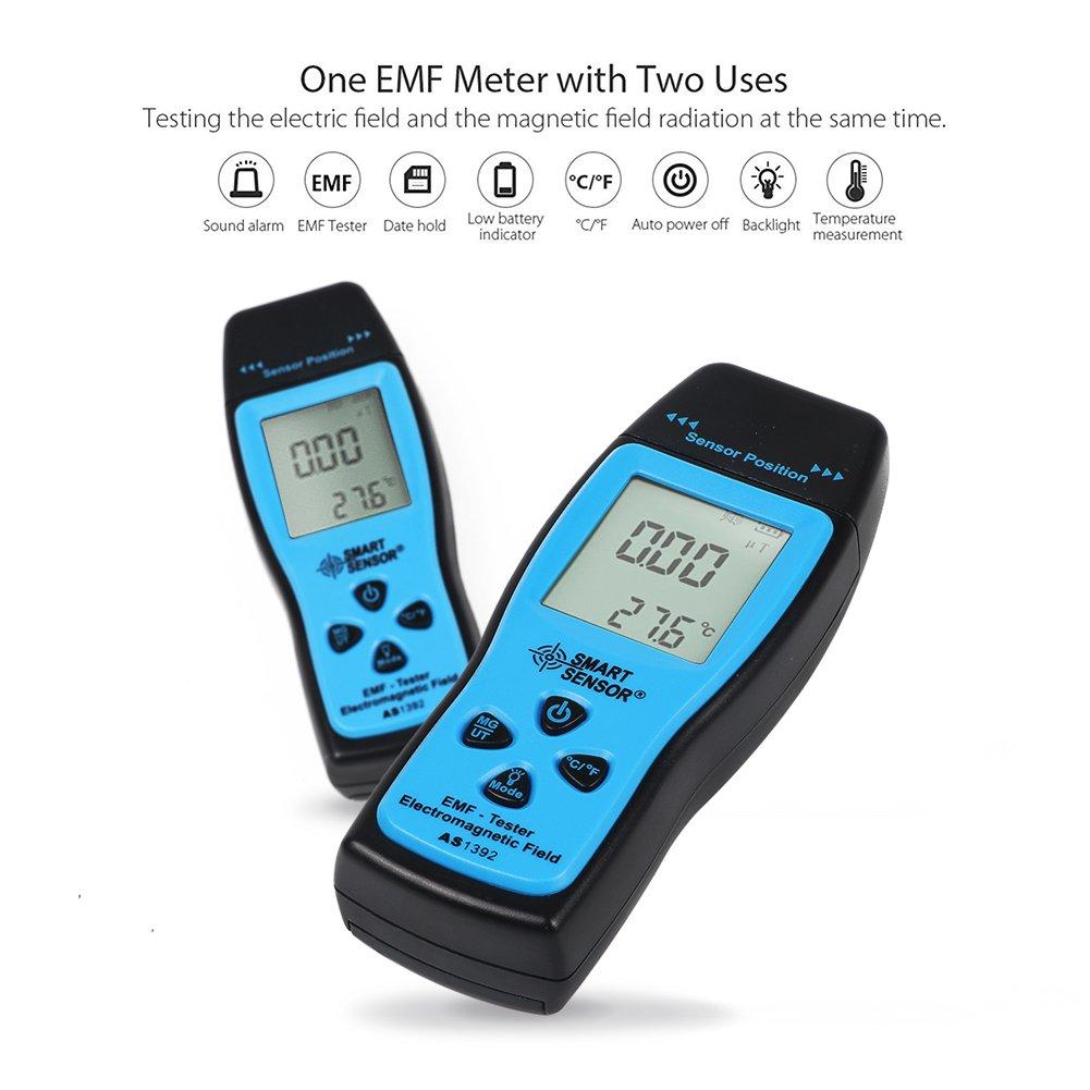 Electromagnetic Field Radiation Detector Handheld Mini Digital LCD EMF RF Radiation Electrosmog Detector Meter Dosimeter Tester Counter blue