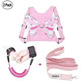 (Butterly pink) - Anti Lost Wrist Link + Toddlers Leash 2 packs Child Walking Safety Harness Kids Wristband Assistant Strap Belt (Butterly pink)