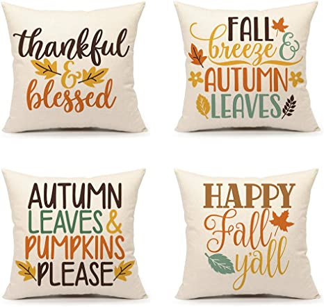Amazon Com 4th Emotion Fall Thanksgiving Throw Pillow Cover 18x18 Set Of 4 Happy Fall Yall Thankful Cushion Case For Sofa Couch Cotton Linen Home Kitchen