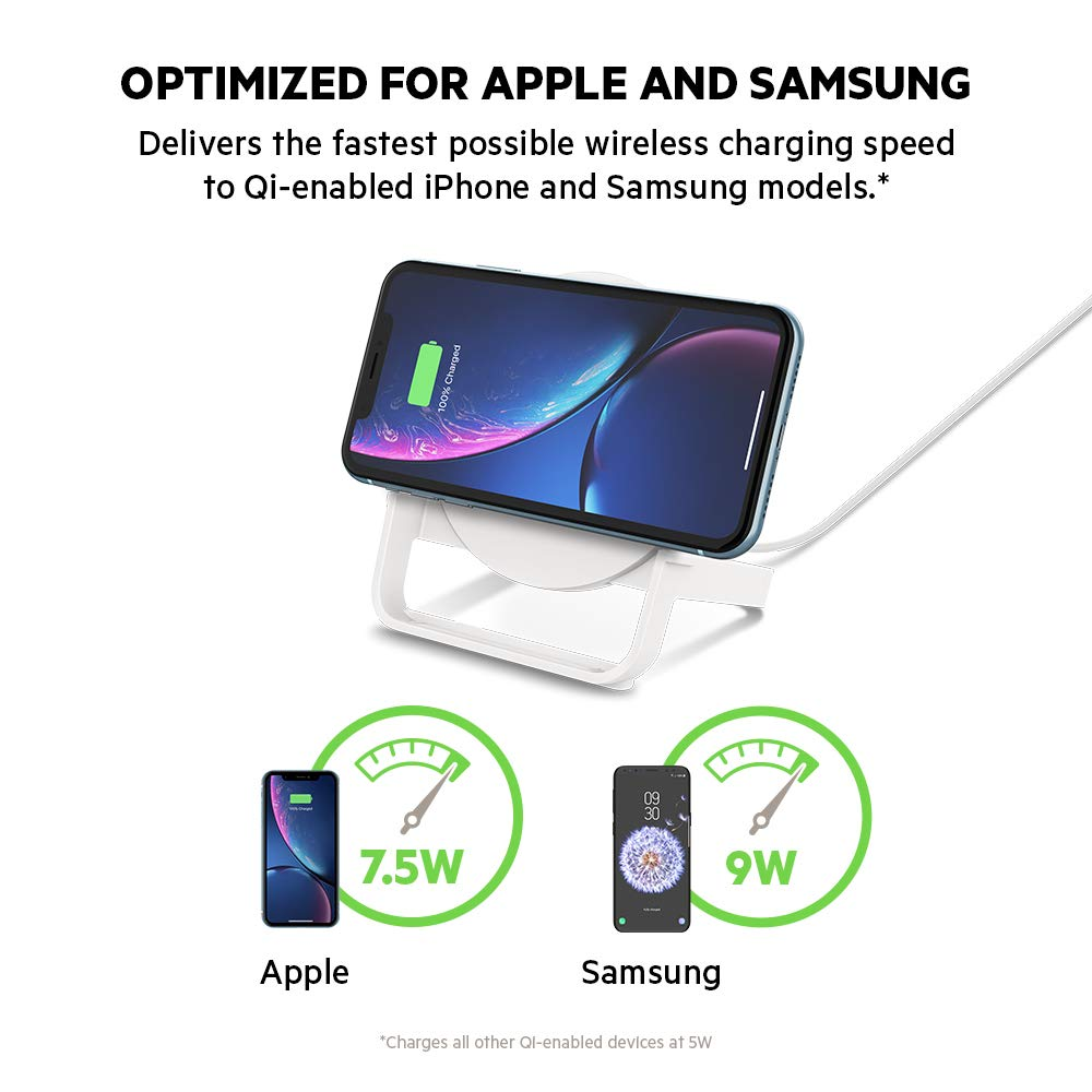 XR Belkin Boost Up Wireless Charging Stand 10W S9 S10e XS Max Note9 and More White X Wireless Charger for iPhone Xs 8 S10+ 8+ // Samsung Galaxy S10