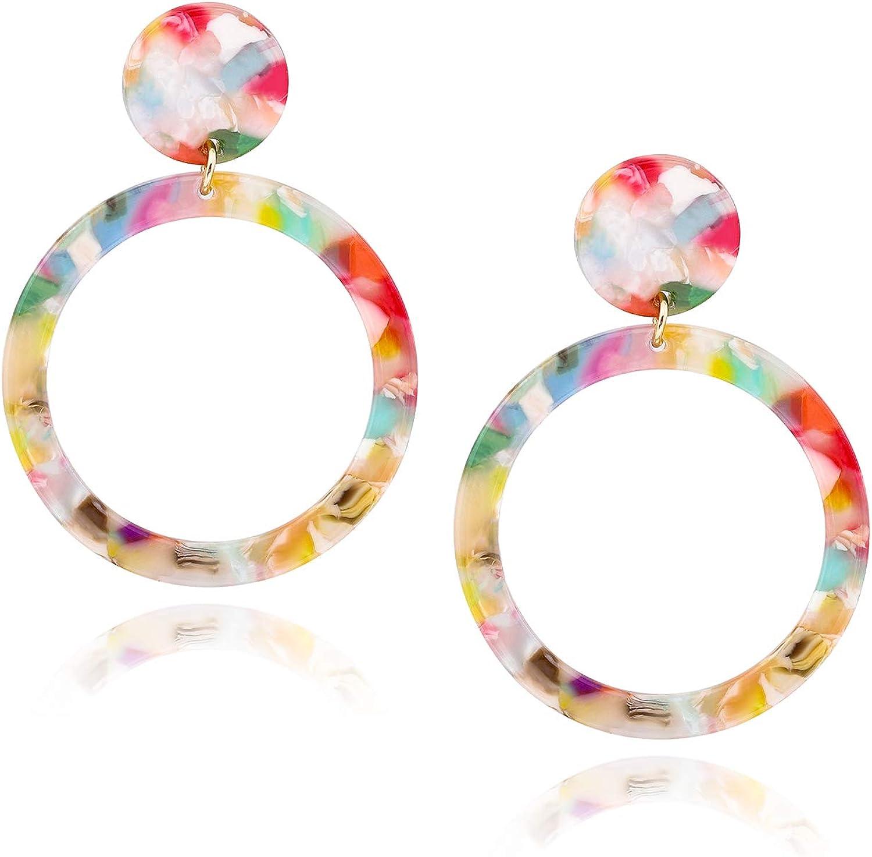 Mottled Acrylic Dangle Drop Statement Resin Ear Stud Earrings Fashion Jewellery
