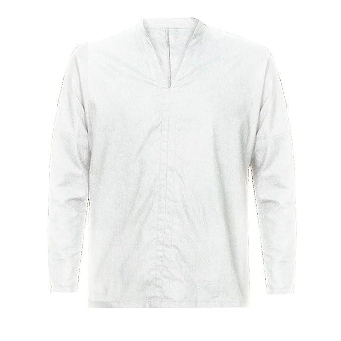 Resplend Camiseta de Manga Larga con Cuello en V de algodón de Manga Larga de algodón Holgado para Hombres: Amazon.es: Ropa y accesorios