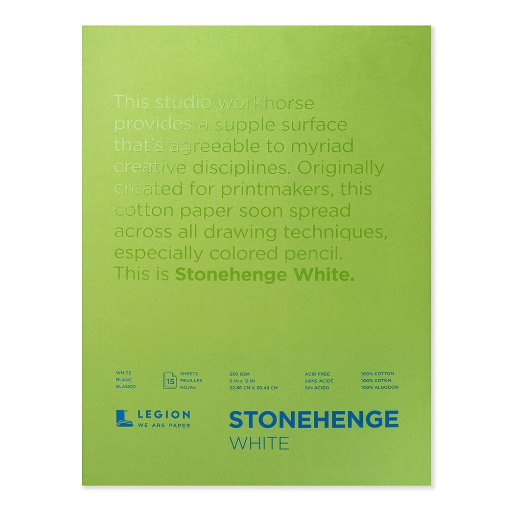 Legion Stonehenge Pad, 9 X 12 inches, White, 15 Sheets (L21-STP250WH912) by Yupo Paper
