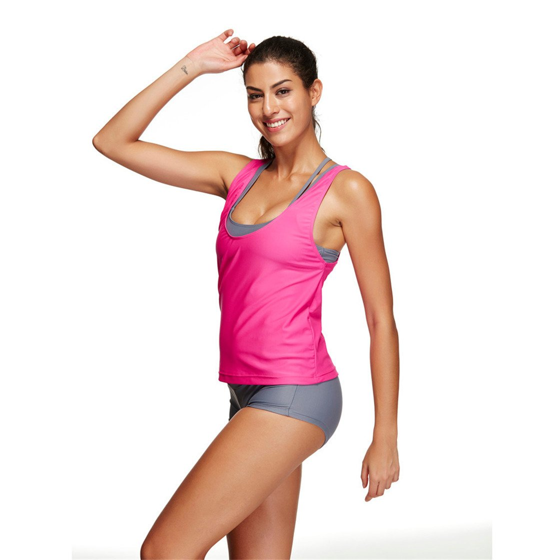 MOSE Women Sports Bikini Pure Color Beach Bathing Two Pieces Beachwear Set (Hot Pink, 3XL)