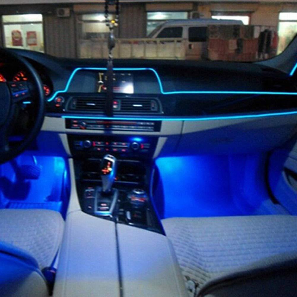 1 m Blue 1mwhite Flessibile luce fredda EL Wire Line Atmosphere UV Glow Car Interior