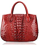 Pijushi 22201 Classic Ladies Crocodile Embossed Leather Satchel Bag Women's Top-handle Handbags (new red)