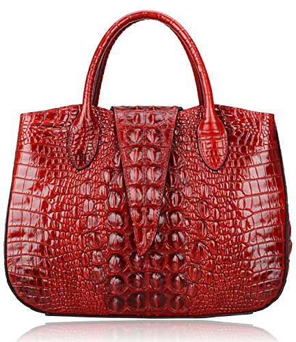 Pijushi 22201 Classic Ladies Crocodile Embossed Leather Satchel Bag Women's Top-handle Handbags (new red) (Handbag New Red)