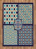 Arabian Area Rug by Ambesonne, Different Asian Ornate Mosaic Patterns Historical Lines Heritage Culture, Flat Woven Accent Rug for Living Room Bedroom Dining Room, 5.2 x 7.5 FT, Blue Orange White