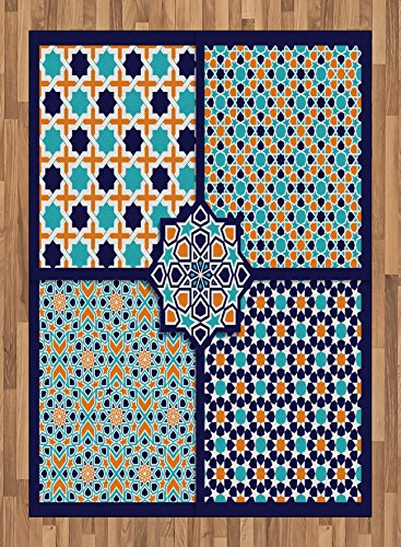 Arabian Area Rug by Ambesonne, Different Asian Ornate Mosaic Patterns Historical Lines Heritage Culture, Flat Woven Accent Rug for Living Room Bedroom Dining Room, 5.2 x 7.5 FT, Blue Orange White by Ambesonne