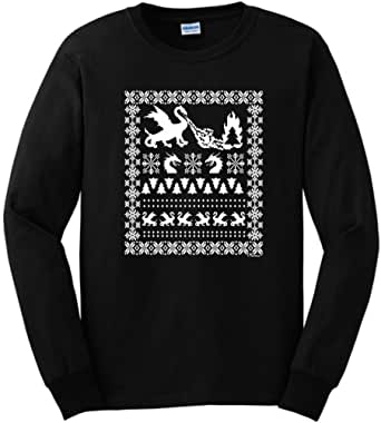 Ugly Christmas Sweater with Dragons Long Sleeve T-Shirt