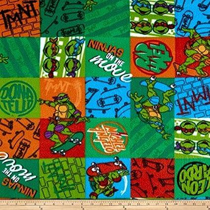 EE Schenck Nickelodeon TMNT Fleece NINJA Patch Green Fabric By The Yard