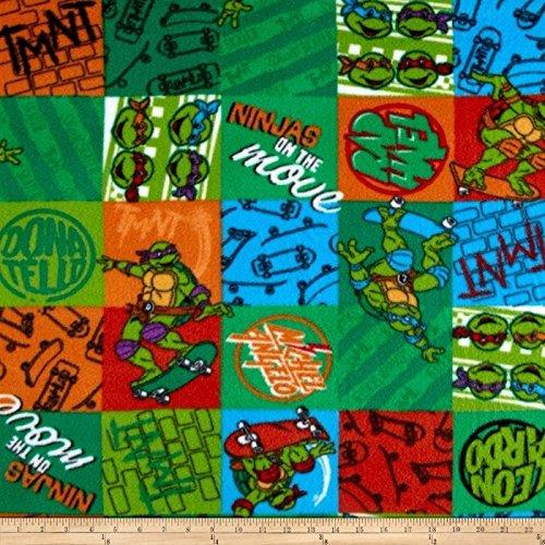 E. E. Schenck Nickelodeon TMNT Fleece Ninja Patch Green Fabric by The Yard, -