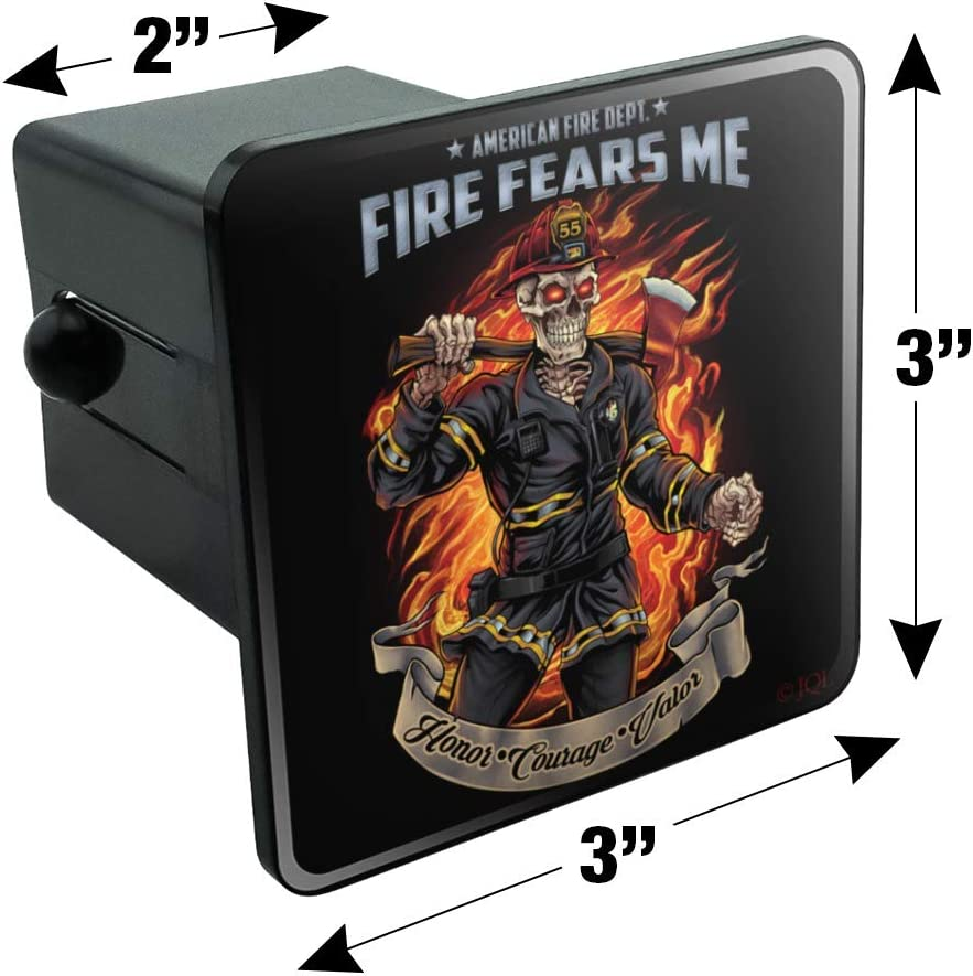 Graphics and More American Fire Department Firefighter Skeleton Fears Me Tow Trailer Hitch Cover Plug Insert