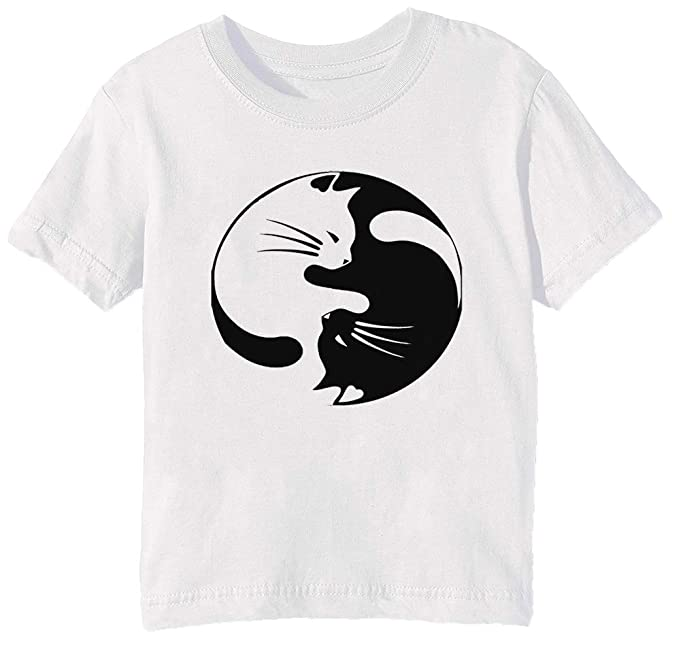 Ying Yang Gato Niños Unisexo Niño Niña Camiseta Cuello Redondo ...