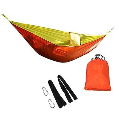 WinCret Set Hamac Camping Portable - 2 mousquetons + 2 cordes - 2 Personne légère 210T Nylon Hammock pour Camping, Randonnée, Plage, randonnée et Voyage