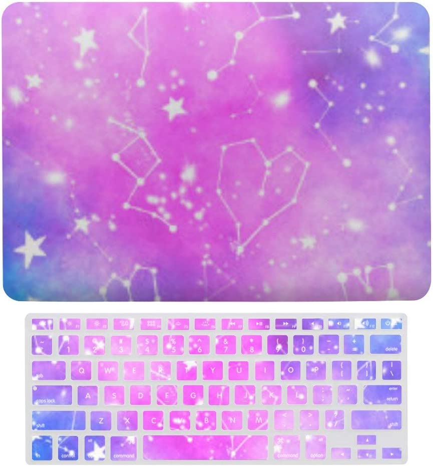 MacBook Air 13 Inch Case(A1369 & A1466, Older Version 2010-2017 Release), Plastic Hard Protective Laptop Case Shell with Keyboard Cover, White Constellation Universe Pattern Zodiac Nebula