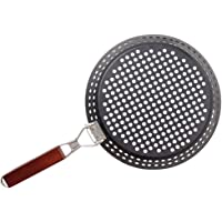 Yardwe Grill non-stick panna grill stekpanna grill toppningsbricka med vikbart handtag BBQ grill wok för hem kök utomhus…