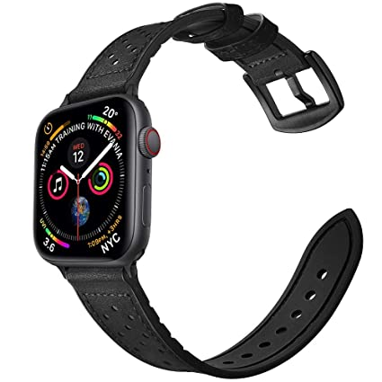 Mifa [Upgraded] Compatible w/Apple Watch Band 44mm 42mm Series 5 4 3 Rugged  Hybrid Sports Leather Vintage Dressy Dark Replacement Strap Sweatproof ...