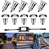 FVTLED LED Step Light 0.6W Φ0.94'' Low Voltage Outdoor LED Deck lights Garden Mall Yard Decoration Lamps Patio Recessed Stair Landscape Pathway In-ground White LED Step Lighting, Pack of 10