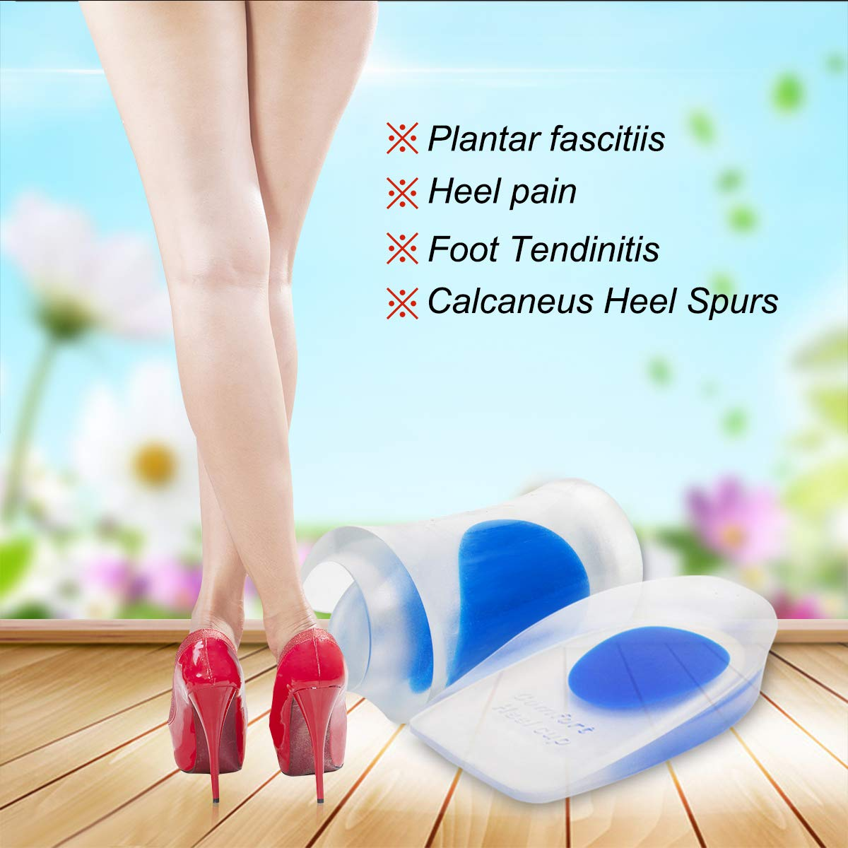 HLYOON® H11 Silicone+PU GEL Heel Cups - Inserts for Heel Spur, Plantar Fasciitis and Heel Pain Relieve - 2 Pairs