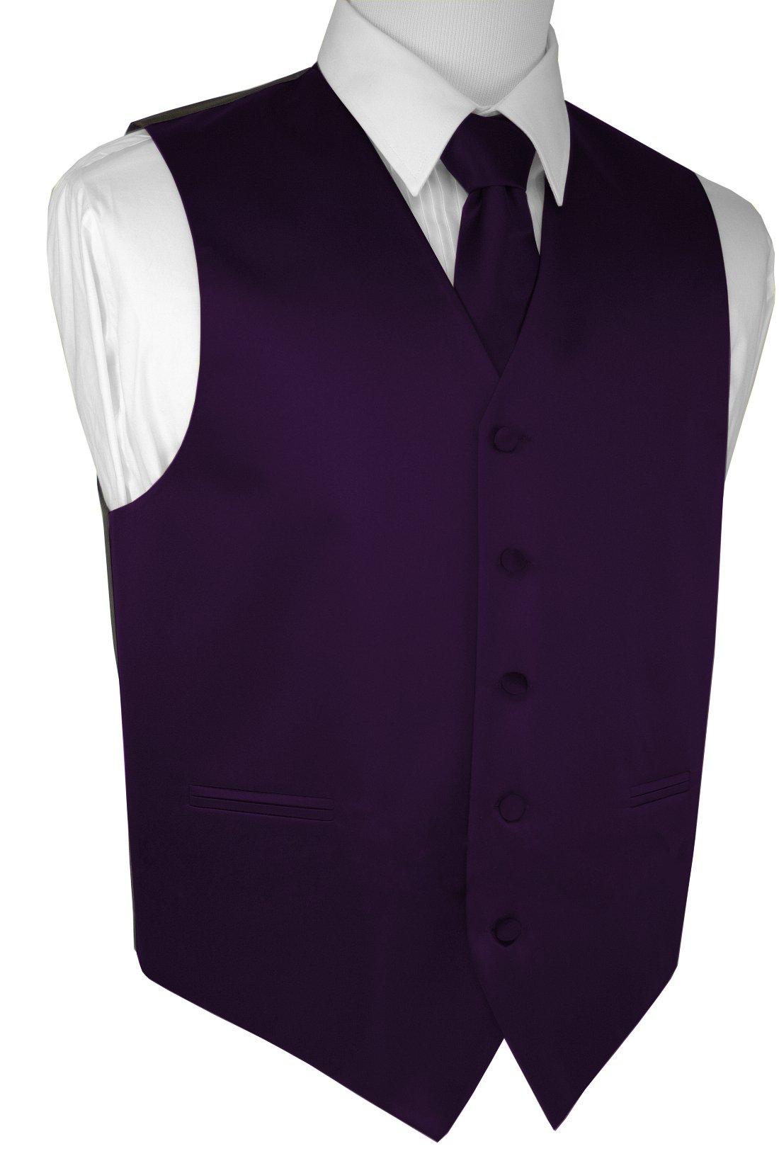 Brand Q Men's Formal Prom Wedding Tuxedo Vest, Tie & Pocket Square Set-Lapis-M